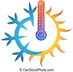 flocon de neige, soleil, thermomètre