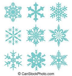 flocon neige, vecteur, icône