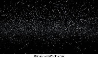 flocons, automne, bas, mouvement, neige, 4k