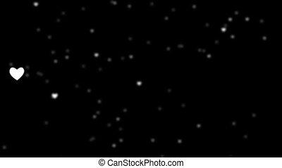flocons neige, 1920, arrière-plan noir, cœurs, tomber, blanc, hd