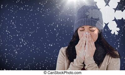 flocons neige, 4k, fond, éternuer, contre, femme