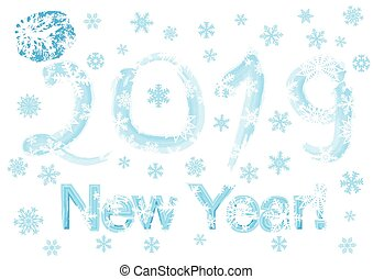 flocons neige, année, illustration, vecteur, fond, (2019), nouveau, kiss.
