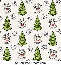 flocons neige, arbre, modèle, cerf, vecteur, noël