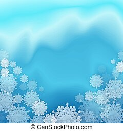 flocons neige, arrière-plan bleu, noël
