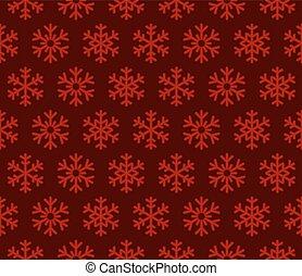 flocons neige, arrière-plan rouge, à, seamless, pattern., vecteur