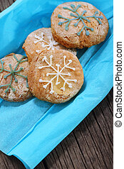 flocons neige, biscuits, décoré