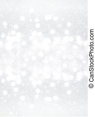 flocons neige, bokeh, fond, defocused, élégant, noël