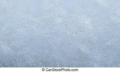 flocons neige, brillant, close-up., vrai, structural