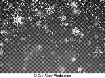 flocons neige, chute neige, noël, snow., arrière-plan., vecteur, illustration, template., tomber, vacances, noël, transparent