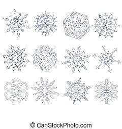 flocons neige, collection, vecteur