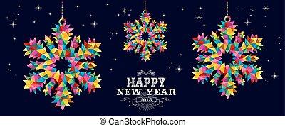 flocons neige, conception, année, 2015, nouveau, carte, heureux