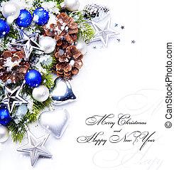 flocons neige, décoration, cadre, arbre noël