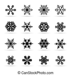Flocons neige, ensemble, noir
