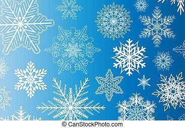 flocons neige, fond, hiver