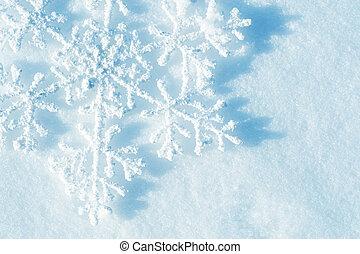 Flocons neige, fond, hiver, neige, noël