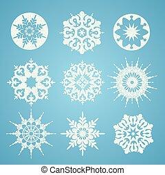 flocons neige, fond, noël blanc, bleu, collection, différent, forme