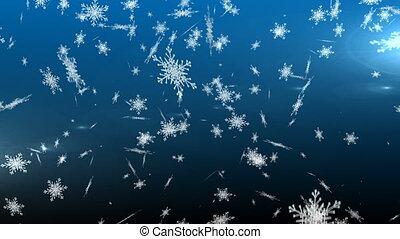 flocons neige, fond, tomber, bleu, contre
