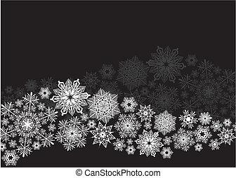 flocons neige, fond, vague