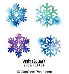flocons neige, hiver, aquarelle