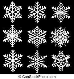 flocons neige, hiver, ensemble