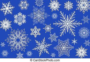 flocons neige, hiver, fond