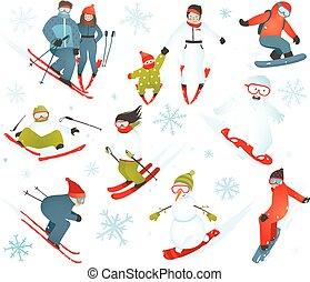 flocons neige, hiver, snowboarder, collection, sport, skieur