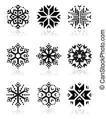 flocons neige, icône, ensemble, blanc