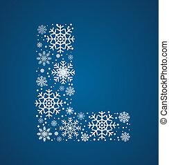 flocons neige, l, vecteur, glacial, lettre, police