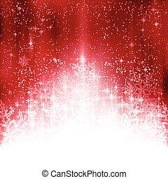 flocons neige, lumières, fond, noël blanc, rouges