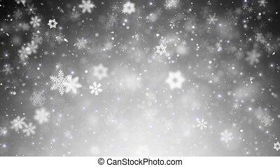flocons neige, noël, fond, étoiles, blanc, tomber, hiver