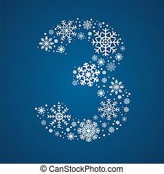 flocons neige, numéro 3, vecteur, glacial, police