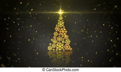 flocons neige, or, arbre, incandescent, forme, noël, boucle