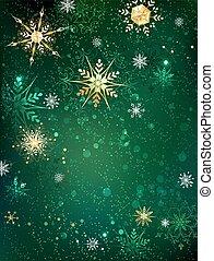 flocons neige, or, fond, vert