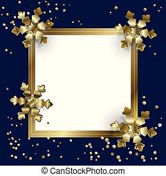 flocons neige, or, &, joyeux, année, nouveau, noël, heureux