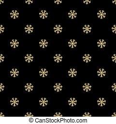 flocons neige, or, modèle, seamless, arrière-plan noir, scintillement