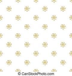 flocons neige, or, modèle, seamless, fond, blanc, scintillement