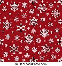 flocons neige, pattern., noël, tomber, flocon de neige, sur, rouges, toile fond., vacances hiver, neige, seamless, vecteur, fond