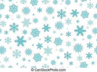 flocons neige, pattern., seamless, illustration, arrière-plan., vecteur, année, nouveau