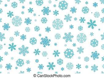 flocons neige, pattern., seamless, illustration, arrière-plan., vecteur, noël