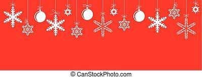 flocons neige, pendre, bannière, noël, rouges, babioles