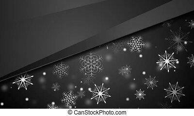 flocons neige, résumé, animation, noir, vidéo, noël