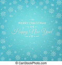 flocons neige, résumé, année, nouveau, noël carte
