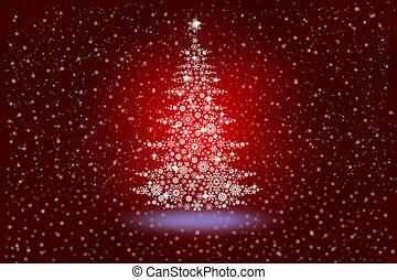 flocons neige, résumé, arbre, fond, noël, rouges