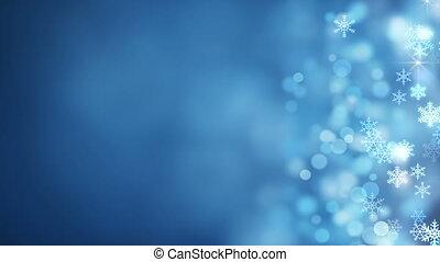 flocons neige, résumé, côté, incandescent, fond, noël, boucle