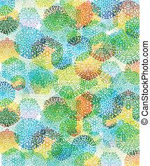 flocons neige, résumé, multi-coloré