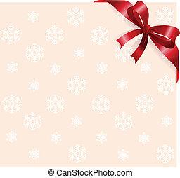 flocons neige, rouges, backgroun, ruban