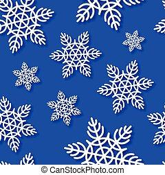 flocons neige, seamless, bleu, vecteur, fond