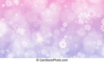 flocons neige, sparkles., fond, pourpre, noël