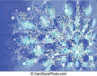 flocons neige, sur, a, bleu, glacial, arrière-plan., eps10, vecteur, illustration