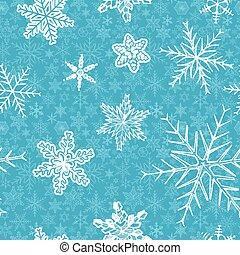 flocons neige, sur, bleu, arrière-plan.